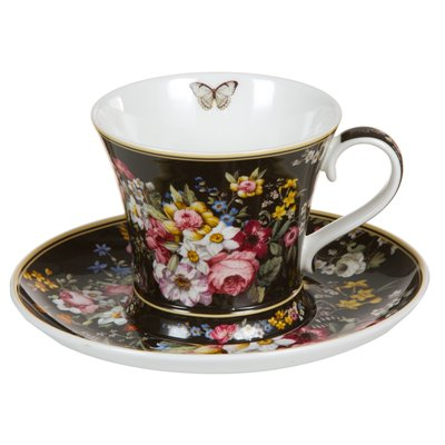 Taza con plato Bloom Black