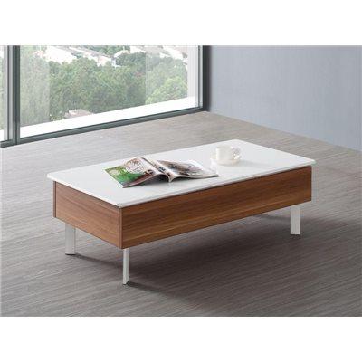 Table basse avec couvercle coulissant blanc et structure en noyer Binda 100 cm