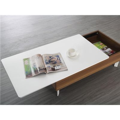 Coffee table with white sliding lid and walnut structure Binda 100 cm