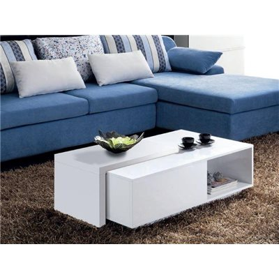 Table basse blanche avec couvercle coulissant Navia