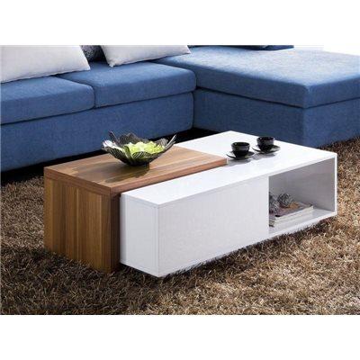 Table basse blanche avec couvercle coulissant couleur Noyer Navia