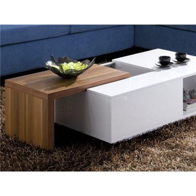 White coffee table with sliding lid color Walnut Navia