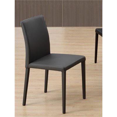 Chaise en acier et cuir synthétique gris Kora