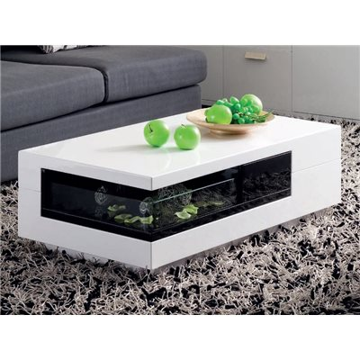 White coffee table with black Bega display shelf 100 cm