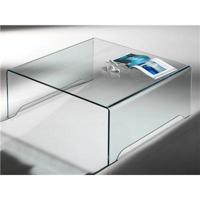 Transparente gebogene Glas-Couchtisch Amarina 100 cm