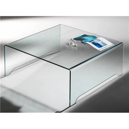 Transparent curved glass coffee table Amarina 100 cm