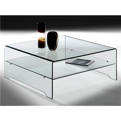 Table basse en verre courbe transparente avec étagère Amarina 100 cm