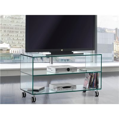 Mesa de Televisión cristal con ruedas Kolet 90 cm