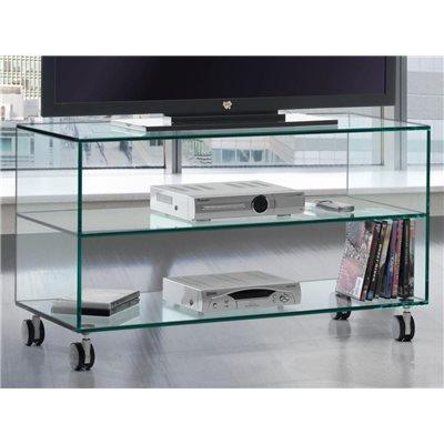 Consolle Porta Tv Vetro.Mobile Porta Tv In Vetro Con Ruote Kolet 90 Cm