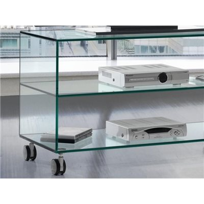 Glass table with casters Kolet 90 cm