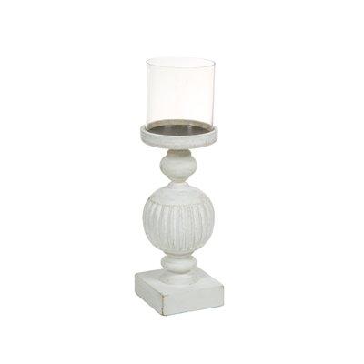 Candelabro de madera y cristal