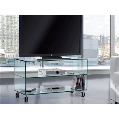 Taula de Televisió cristall amb rodes Kolet 90 cm