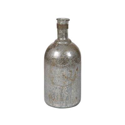 Jarrón botella plateado