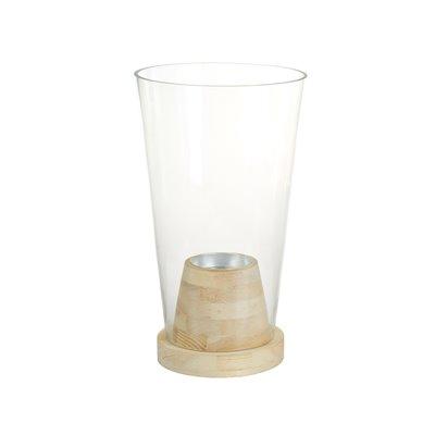 Jarrón de cristal con madera