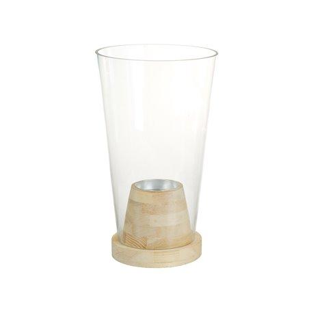 Vase en verre avec du bois