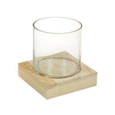 Glasvase mit Holz
