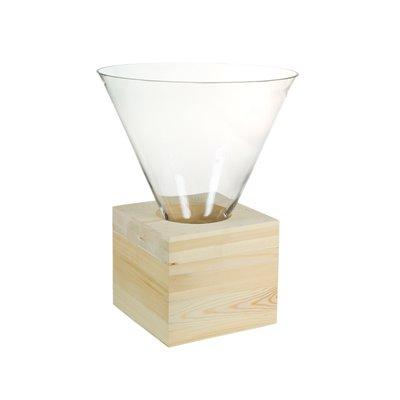 Centro mesa cristal con madeira