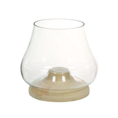 Glas-Kerzenhalter mit Holz