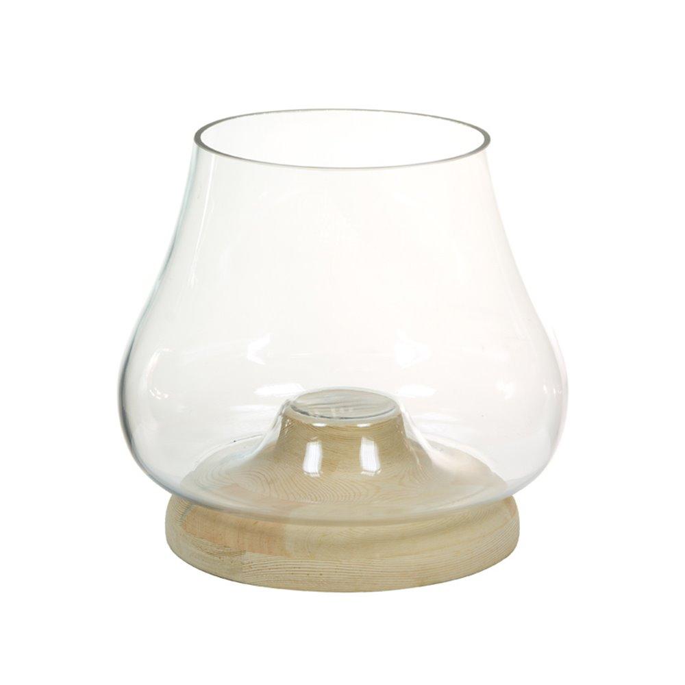 Portavelas de cristal con madeira