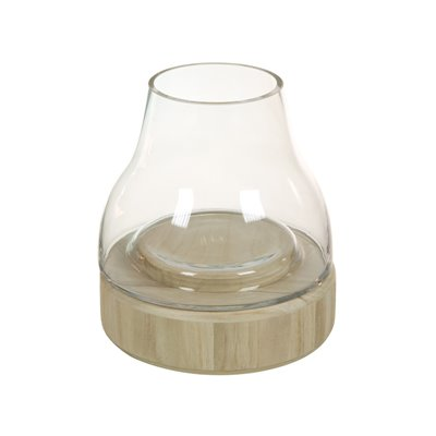 Glass candle holder with wood