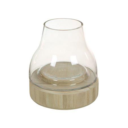 Portavelas de cristal con madera