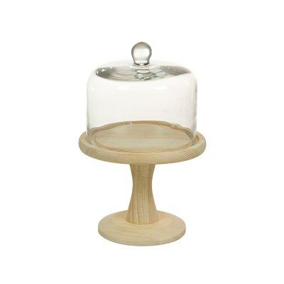 Plato tarta de cristal con madera