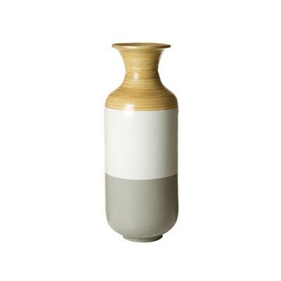 Jarrón bambú gris y blanco