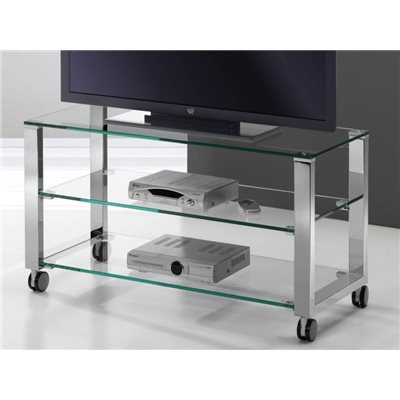 Mesa de Television cristal con patas cromadas Aremi 95 cm