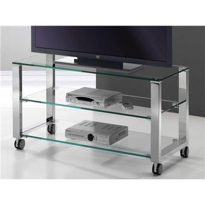 Table de télévision en cristal avec pieds chromés Aremi 95 cm