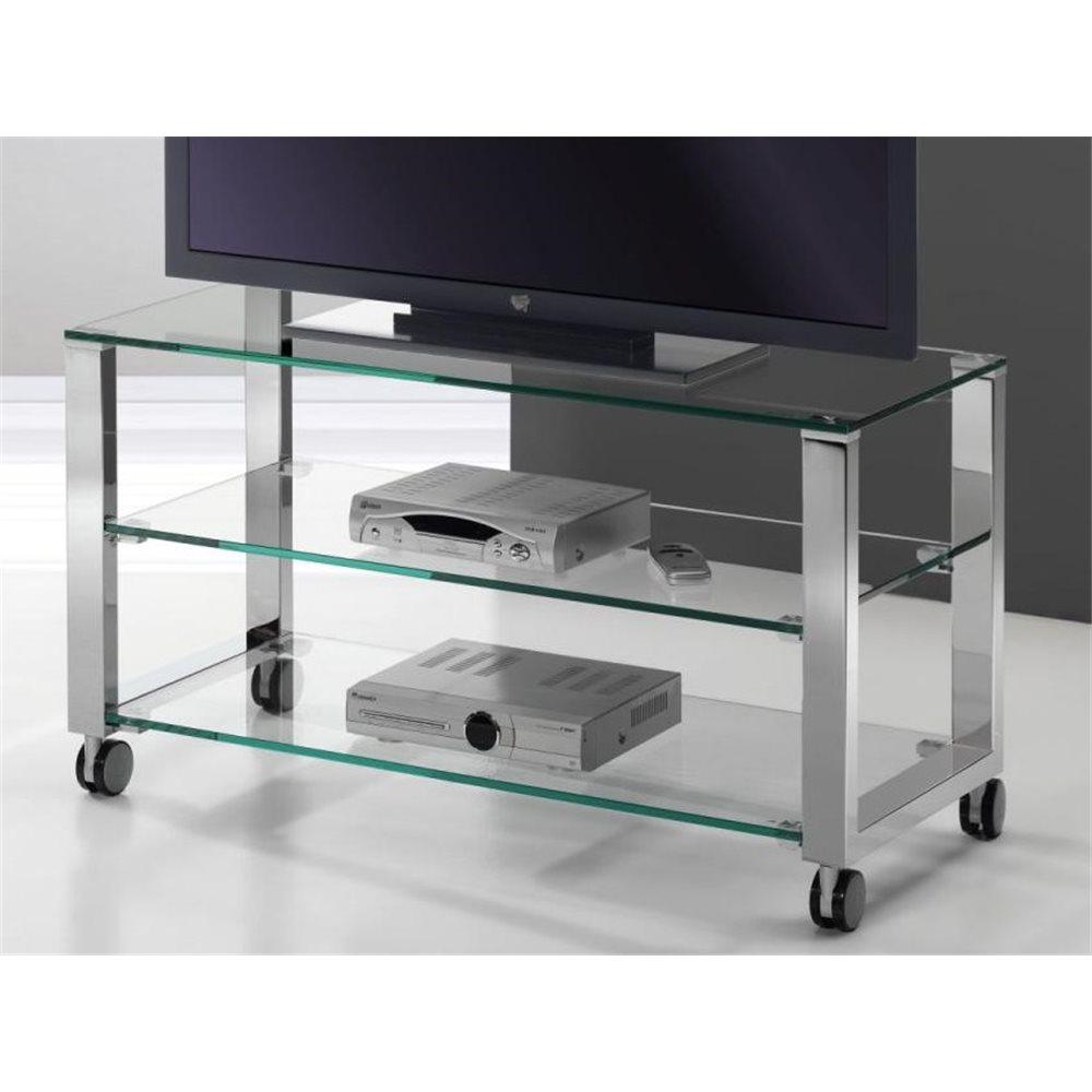 Mobile TV vetro con gambe cromate Aremi 95 cm