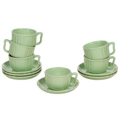Juego de 6 tazas de loza verde