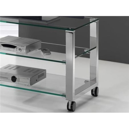 Crystal TV table with chrome legs Aremi 95 cm