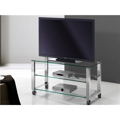 Taula de Televisió cristall amb potes cromadas Aremi 95 cm