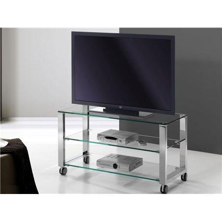 Crystal TV table with chrome legs Aremi 95 cm